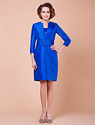 Sheath/Column Plus Sizes / Petite Mother of the Bride Dress - Royal Blue Knee-length 3/4 Length Sleeve Taffeta