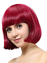Capless Short Red Straight Synthetic Wigs