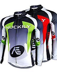 Nuckily Cycling Jersey Men's Long Sleeve Bike Jersey Tops Thermal / Warm Quick Dry Fleece Lining Ultraviolet Resistant100% Polyester