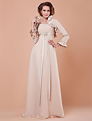 LAN TING BRIDE Sheath / Column Plus Size Petite Mother of the Bride Dress - Wrap Included Floor-length 3/4 Length Sleeve Chiffon Satin