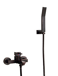 Antique Tub And Shower Handshower Included with  Ceramic Valve Single Handle Three Holes for  Oil-rubbed Bronze , Shower Faucet