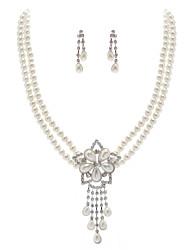 ivoire nacré deux pièces collier vintage dames et ensemble de bijoux boucles d'oreilles (38 cm)