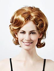 capless longueur moyenne synthétique de haute qualité de lumière blonde regarde la nature perruque cheveux bouclés (0463-441)