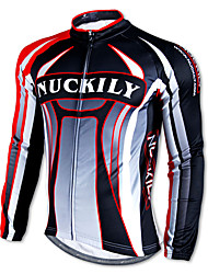 NUCKILY-100% Polyester Long-Sleeve Cycling Jersey with Fleece Side (Black)