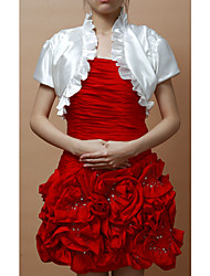 Wedding  Wraps Shrugs Short Sleeve Satin As Picture Shown Wedding / Party/Evening Puff Sleeves Flower(s) Open Front