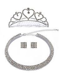 Shining Rhinestones Wedding Jewelry Set,Including Necklace,Tiara And Earrings
