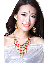 Performance Dancewear Legierung mit Red Gem und Crystal Belly Dance Halskette für Damen