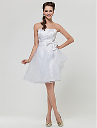 Knee-length Satin / Organza Bridesmaid Dress - White Plus Sizes / Petite A-line / Princess Strapless