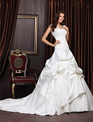 Lan Ting Ball Gown Plus Sizes Wedding Dress - Ivory Chapel Train Strapless Satin/Lace