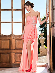 TS Couture® Prom / Formal Evening Dress - Sexy Plus Size / Petite Sheath / Column Strapless / Sweetheart Asymmetrical Chiffon with Beading / Crystal
