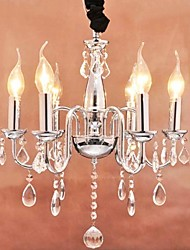 60W 6-light Crystal Pendent Light in Candle Feature