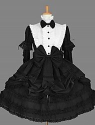 One-PieceClassic/Traditional Lolita Vintage Cosplay School Lolita Dress With Cravat White / Black Long Sleeve Knee-length Dress / Sleeves For