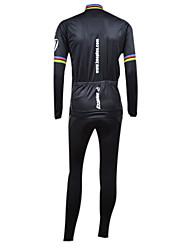 Kooplus Maillot et Cuissard Long à Bretelles de Cyclisme Homme Manches longues Vélo Collants Ensemble de VêtementsGarder au chaud