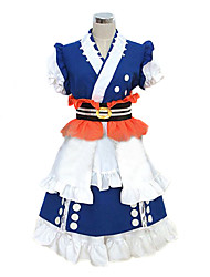 Inspired by TouHou Project Komachi Onozuka Video Game Cosplay Costumes Cosplay Suits / Kimono Patchwork Blue Short SleeveKimono Coat /