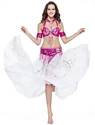 Cores 5-peças desempenho dancewear poliéster estilo roupa de lantejoulas barriga mais mais