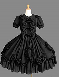 Short Sleeve Knee-length Black Cotton Classic Lolita Dress