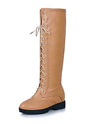 Kunstleder Low Heel Knee High Boots mit Spitze-up Party / Abendschuhe (mehr Farben)