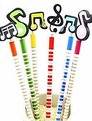красочные музыкальная нота дизайн карандаш (6-Pack)