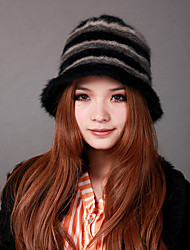 Deniso-1139 Women's Winter Knit Hat With Lapin Hair(Multi-Color Available)