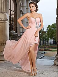 Prom / Formal Evening Dress - Pearl Pink Plus Sizes / Petite Sheath/Column Sweetheart / Strapless Asymmetrical / Short/Mini Chiffon