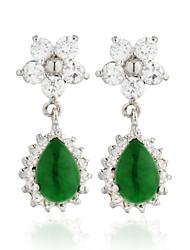 Charming Alloy Jade Crystal Earrings