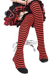 Black Lace Cotton Stripes Punk Lolita Meias