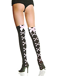 Pink Ribbon Bow Stone Pattern Sweet Lolita Stockings