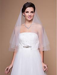 One-tier Elbow Wedding Veil With Beaded Edge