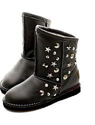 Damen Black Suede Gummi Anti-Rutsch-Waterproof Warming Mid-Calf Flach Snow Boots mit leuchtenden Sternen