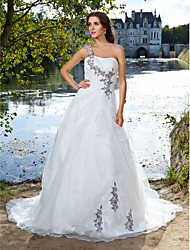 Ball Gown One Shoulder Court Train Organza Wedding Dress with Beading Appliques Side-Draped by LAN TING BRIDE®