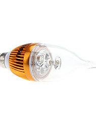 E14 3W 270-290lm 6000-6500K Natural White Light Golden Shell LED Candle Bulb (85-265V)