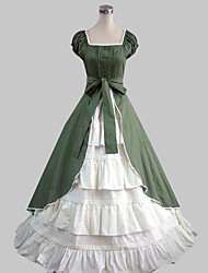 Short Sleeve Floor-length Green Cotton Country Lolita Dress