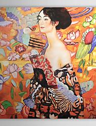 Картина маслом, ручной росписи, реплика картины Густава Климта, «Женщина с веером»