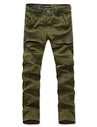 casuais masculinos múltiplos bolsos das calças retas