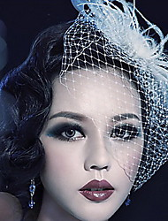 Women's Feather Tulle Headpiece-Wedding Special Occasion Outdoor Birdcage Veils