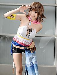 Вдохновлен Final Fantasy Yuna видео Игра Косплэй костюмы Косплей Костюмы Пэчворк Белый КороткиеЖилет / Шорты / Шарф / Браслет /
