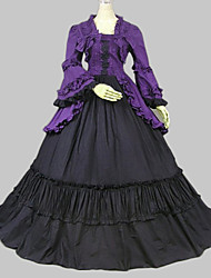 One-Piece/Dress Classic/Traditional Lolita Vintage Inspired Cosplay Lolita Dress Purple / Black Vintage Long Sleeve Long Length Dress For