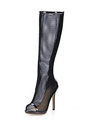 Patent Leather / Mesh Naaldhak knie hoge laarzen met rits partij / avond schoenen