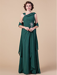 Lanting Sheath/Column Plus Sizes / Petite Mother of the Bride Dress - Dark Green Floor-length Sleeveless Chiffon