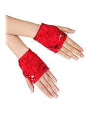 Wrist Length Fingerless Glove Net Party/ Evening Gloves Spring / Summer / Fall Sequins / Floral