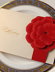 Beautiful Wedding Invitation With Embossed Flower (Set of 50)