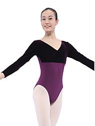 dancewear algodão / spandex ballet collant de veludo de manga longa para senhoras