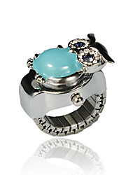 Charming Alloy Owl Design Crystal Ring Watch