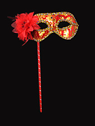 Elegant Flower and Sequin Red PVC Holiday Half-face Mask