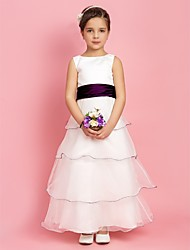 A-line / Princess Floor-length Flower Girl Dress - Organza / Stretch Satin Sleeveless Jewel with Sash / Ribbon / Tiers