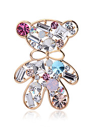 Summer jewelry crystal cute bear brooch for women