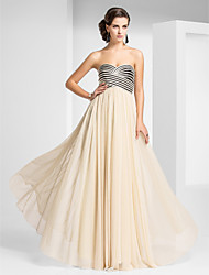 Sheath / Column Strapless Sweetheart Floor Length Tulle Prom Formal Evening Military Ball Dress with Draping Criss Cross by TS Couture®