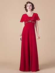 Lanting Bride® Sheath / Column Plus Size / Petite Mother of the Bride Dress Floor-length Short Sleeve Chiffon with Beading