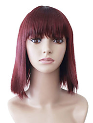 Capless Medium Red Straight High Quality Synthetic Japanese Kanekalon Wigs