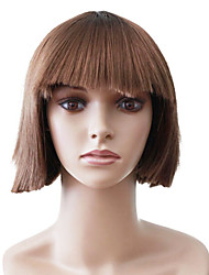 Capless Short Brown Straight High Quality Synthetic Japanese Kanekalon Wigs